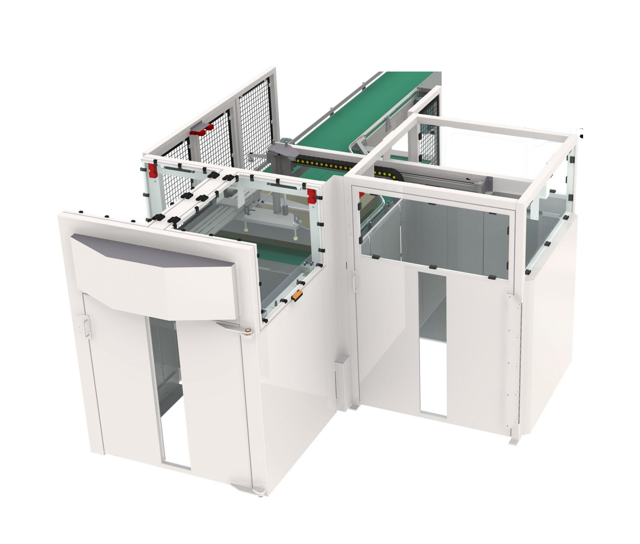 A palletiser and de-palletiser designed and manufactured by Asmech Systems limited.