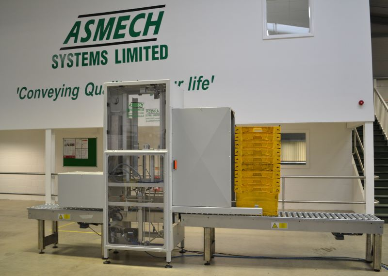 A tote stacker and de-stacker designed and manufactured by Asmech systems Limited.