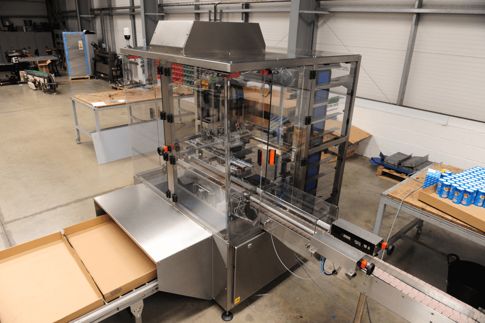 The Asmech Systems Tray Packer designed and manufactured by Asmech systems Limited.